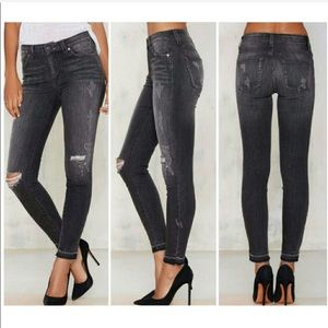 Nasty Gal • Washed Black Distressed Skinny Jeans